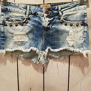 Bershka   Studded Distressed Ripped Shorts 30